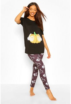 Black Maternity Pumpkin Bump And Bone Legging PJ Set