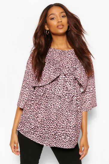 Dusty pink Pink Maternity Leopard Tie Front Top