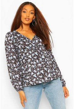 Black Maternity Floral Drape Sleeve Wrap Top