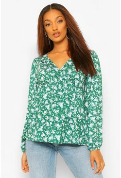 Emerald green Maternity Floral Drape Sleeve Wrap Top