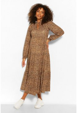 Maternity Printed Tiered Midi Smock Dress, Tan marrón
