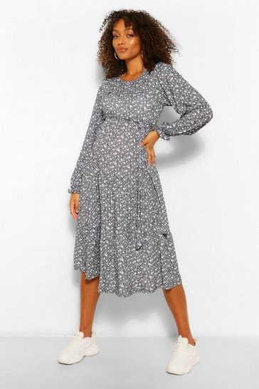Black Maternity Ditsy Floral Tiered Midi Smock Dress