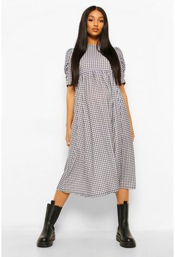 White Maternity Check Ruched Sleeve Midi Dress