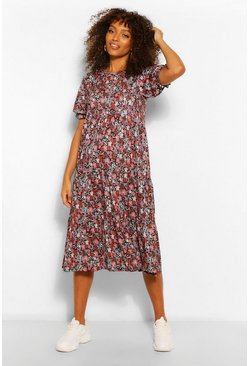 Multi Maternity Floral Ruched Sleeve Midi Smock Dress