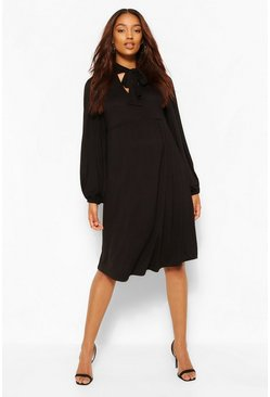 Black Maternity Tie Neck Drape Sleeve Smock Dress
