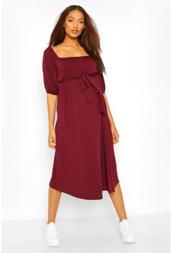 Berry Maternity Tie Waist Puff Sleeve Midi Dress