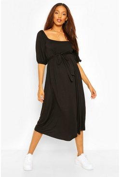 Black Maternity Tie Waist Puff Sleeve Midi Dress