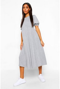 Grey marl Maternity Puff Sleeve Midi Smock Dress
