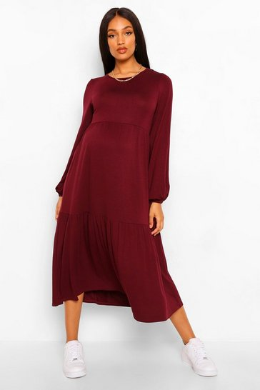 Berry red Maternity Tiered Midi Smock Dress