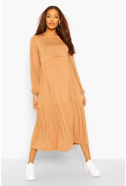 Camel Maternity Tiered Midi Smock Dress