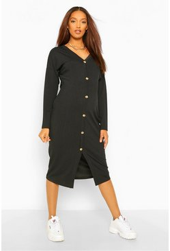 Black Maternity Button Front Rib Slouchy Midi Dress