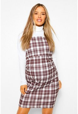 White Maternity 2 In 1 Roll Neck Check Pinafore Dress