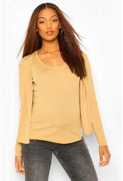 Camel Maternity Rib Vest And Cardigan Co-Ord Set