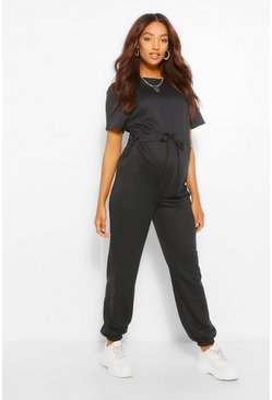 Black Maternity Jogger Jumpsuit