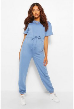 Blue Maternity Jogger Jumpsuit