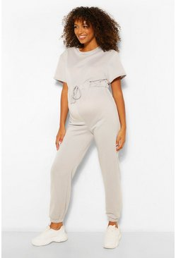 Grey Maternity Jogger Jumpsuit