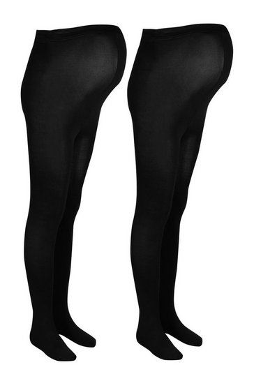 Black Maternity 2 Pack 120 Denier Tights