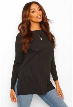 Maternity Oversized Side Split T-Shirt, Black negro