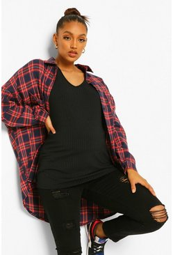 Black Maternity Oversized V Neck T-Shirt