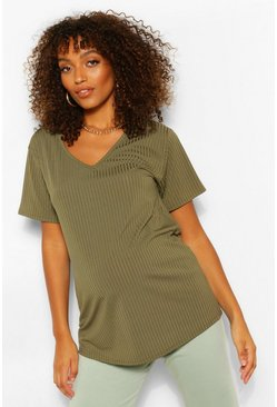 Khaki Maternity Oversized V Neck T-Shirt