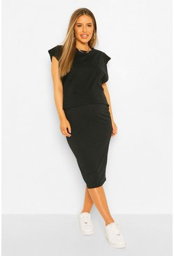 Black Maternity Rib Midi Skirt