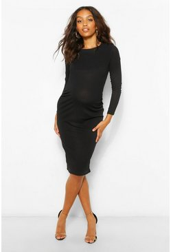 Black Maternity Rib Bodycon Midi Dress