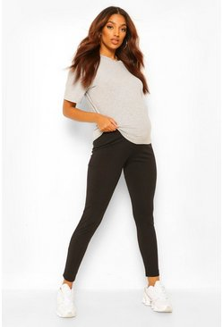 Charcoal grey Maternity Over The Bump Rib Legging