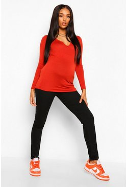 Rust orange Maternity Notch Front Long Sleeve Top