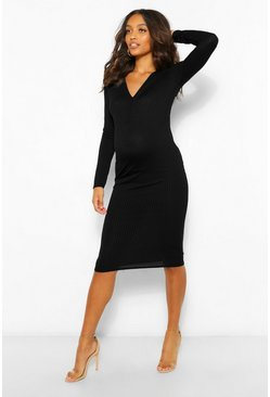 Black Maternity Long Sleeve Ruche Bodycon Midi Dress