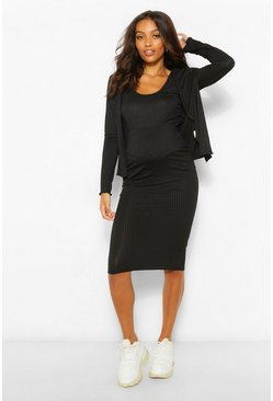 Black Maternity 3 Pc Cardigan And Skirt Co-Ord Set