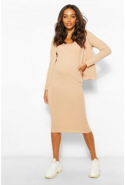 Camel beige Maternity 3 Pc Cardigan And Skirt Co-Ord Set