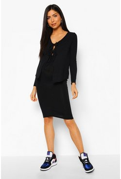 Black Maternity Cardigan And Midi Skirt Co-Ord Set