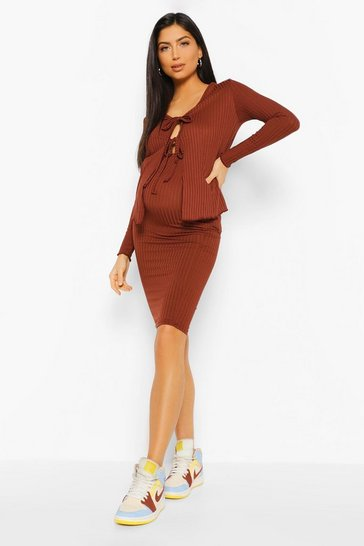 Chocolate brown Maternity Cardigan And Midi Skirt Co-Ord Set