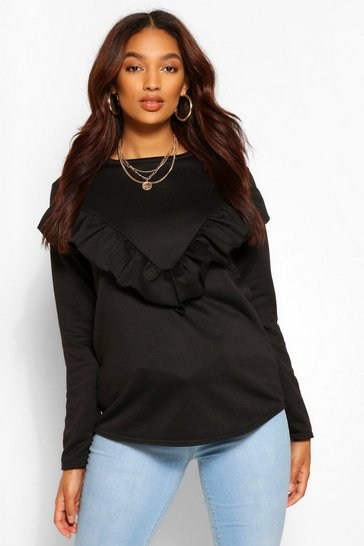 Black Maternity Ruffle Front Sweatshirt