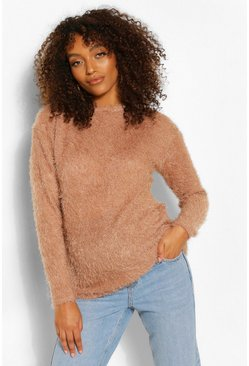 Camel Maternity Fluffy Knit Jumper
