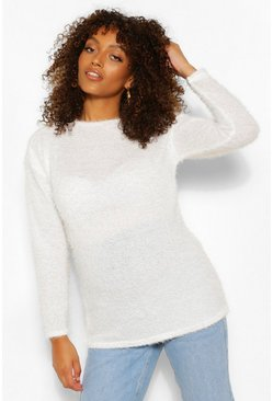 Cream white Maternity Fluffy Knit Jumper