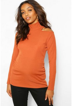 Rust orange Maternity Cold Shoulder Rib Roll Neck Top