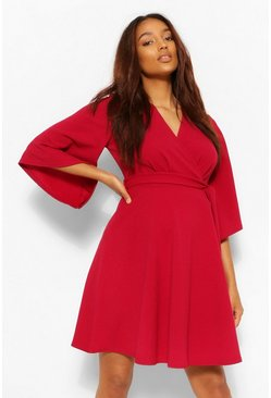 Berry red Maternity Angel Sleeve Tie Waist Skater Dress