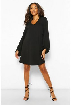 Black Maternity Drape Sleeve Shift Dress