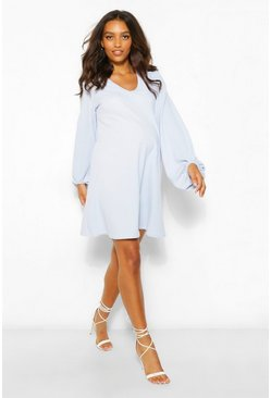 Blue Maternity Drape Sleeve Shift Dress