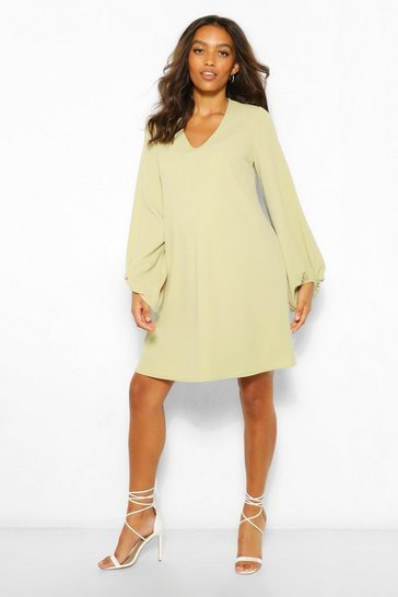 Sage green Maternity Drape Sleeve Shift Dress