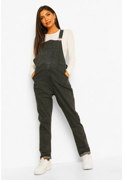 Washed black Maternity Distressed Washed Dungaree
