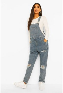 Mid blue Maternity Distressed Washed Dungaree
