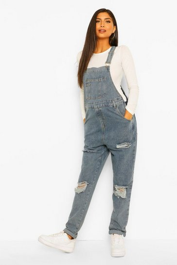 Mid blue blue Maternity Distressed Washed Dungaree