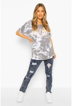 Mid blue blue Maternity Distressed Acid Wash Skinny Jean