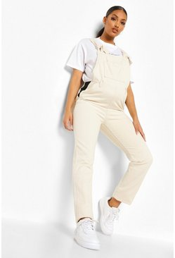 Maternity Ecru Tie Strap Dungarees