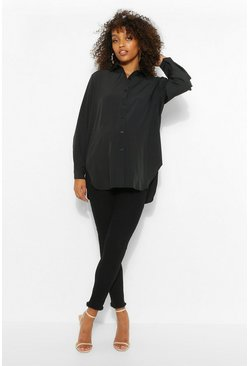 Black Maternity Oversize Cotton Button Through Shirt