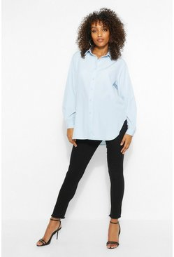 Pale blue Maternity Oversize Cotton Button Through Shirt