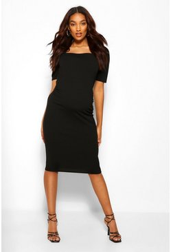 Black Maternity Puff Sleeve Bodycon Midi Dress