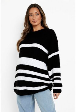 Black Maternity Slouchy Stripe Jumper